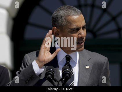 Washington, District of Columbia, USA. 14th Apr, 2016. United States President Barack Obama (R) speaks during the - Stock Photo