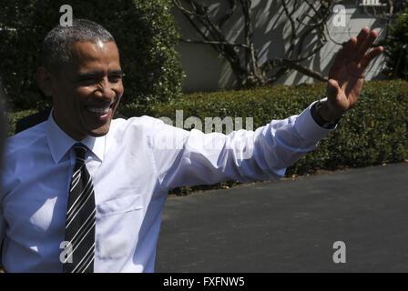 Washington, District of Columbia, USA. 14th Apr, 2016. United States President Barack Obama waves to the public - Stock Photo