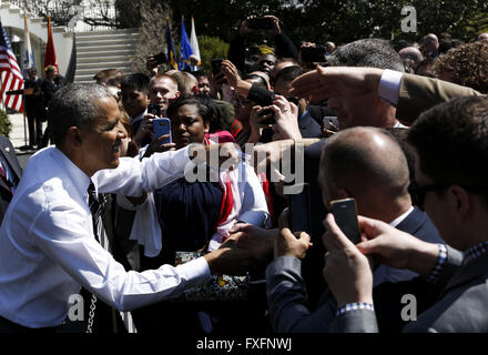 Washington, District of Columbia, USA. 14th Apr, 2016. United States President Barack Obama greets the public at - Stock Photo