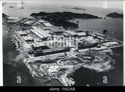 1956 - Japan Opens World's Biggest Shipyard. The world's largest shipyard, which can build three mammoth tankers - Stock Photo