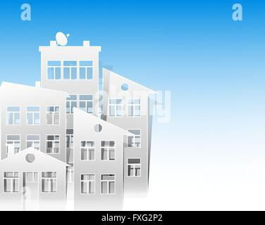 white houses paper cut out style as real estate symbols on light blue sky background - Stock Photo