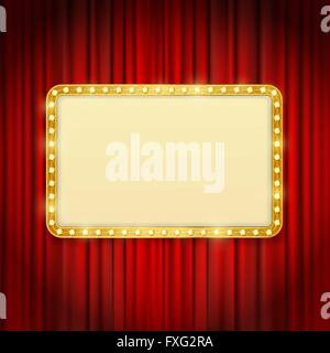 golden frame with light bulbs on red curtains background. vector design template - Stock Photo