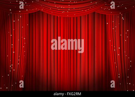 Open red curtains with glitter opera or theater background. vector - Stock Photo