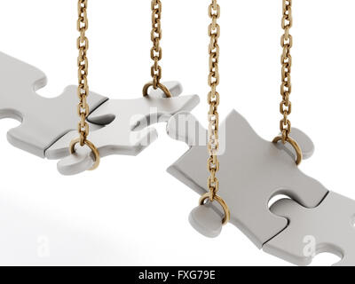 Jigsaw puzzle pieces forming a bridge isolated on white background - Stock Photo