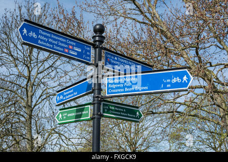 Signage along the Thames Pathway near Crossness in London, SE2, UK - Stock Photo