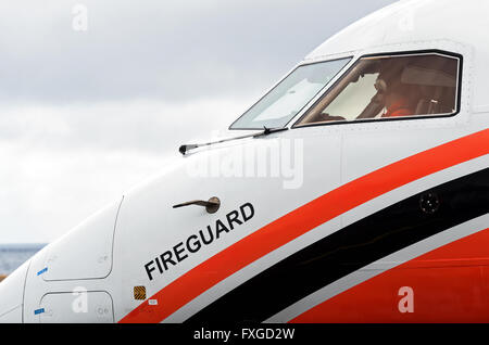 DASH 8 aircraft of the French Civil Security - Stock Photo
