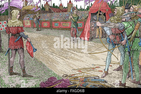 Robin Hood. Heroic outlaw in English folklore. Archer and swordsman. Robin Hood Wins Queen Eleanor's Price. Engraving. - Stock Photo