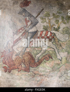 The restored medieval wall painting of St. George slaying the dragon, St. Gregory's Church, Bedale, North Yorkshire, - Stock Photo