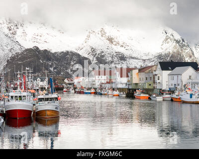 Fishing boats in harbour of Henningsvaer on Austvagoy, Lofoten Islands, Norway - Stock Photo