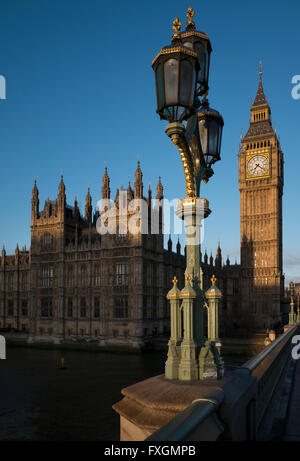 The Elizabeth Tower, known as Big Ben, at the Houses of Parliament, London, UK, from Westminster Bridge - Stock Photo