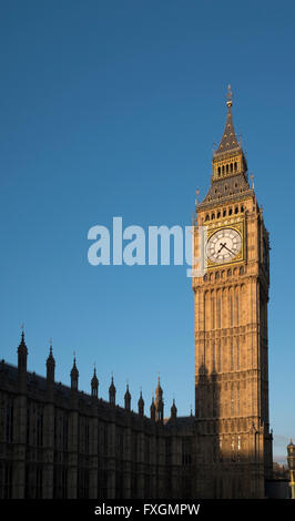The Elizabeth Tower, known as Big Ben, at the Houses of Parliament, London, UK - Stock Photo