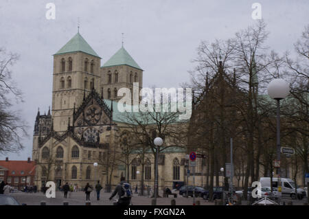 Paulus Cathedral - main church in Munster - Stock Photo