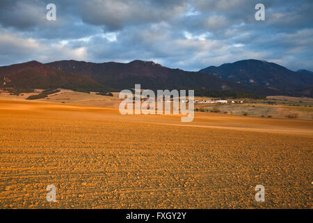 Rural landscape in early spring in Turiec, northern Slovakia. - Stock Photo