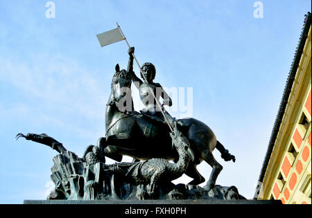 Prague, Czech Republic. Statue of St George and the Dragon in front of St Vitus Cathedral, Hradcany - Stock Photo
