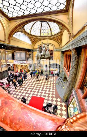Prague, Czech Republic. Lucerna Passage. Art nouveau arcade containing shops, cinema and cafes built by Vaclav Havel - Stock Photo