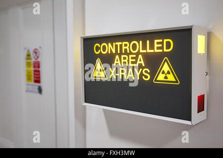 Controlled X-Ray Area Sign in a Hospital in the UK. - Stock Photo