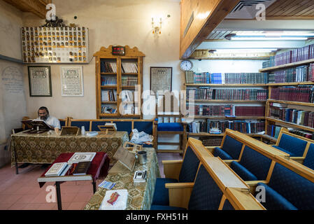 interior of old synagogue in Neve Tzedek neighborhood, Tel Aviv city, Israel - Stock Photo