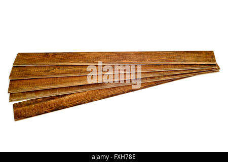 some rustic wooden planks on a white background - Stock Photo