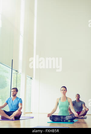 Yoga class sitting in lotus position - Stock Photo