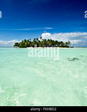 Tropical uninhabited or desert island with beach and palm trees in the Blue Lagoon inside Rangiroa atoll near Tahiti, - Stock Photo