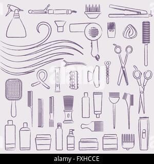 Hand drawn hair styling icons set - Stock Photo