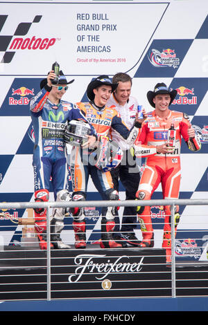 Marc Marquez , Jorge Lorenzo and Andrea Iannone on the podium after the 2016 MotoGP Red Bull Grand Prix of the Americas - Stock Photo