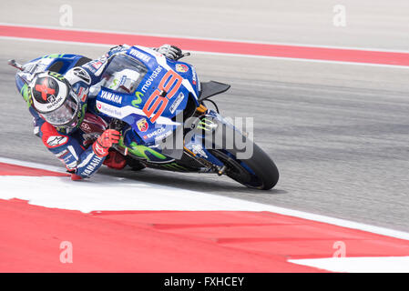 Jorge Lorenzo of Movistar Yamaha on his way to winning the 2016 Red Bull Grand Prix of the Americas at Circuit of - Stock Photo