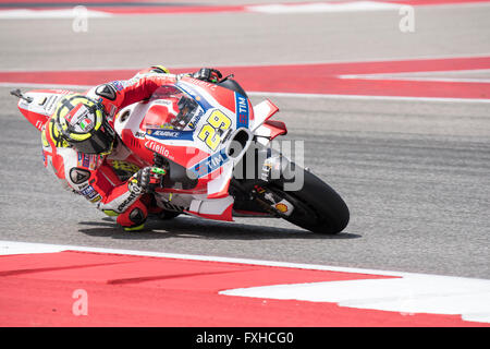 Andrea Iannone of Ducati on his way to 3rd place in the 2016 Red Bull Grand Prix of the Americas at Circuit of the - Stock Photo