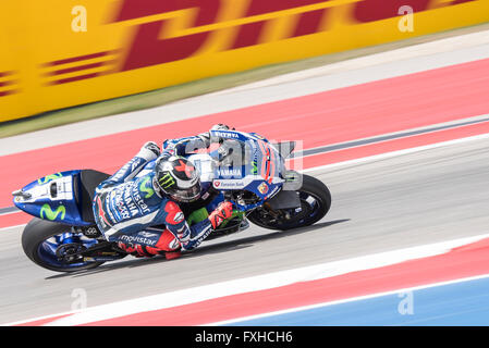 Jorge Lorenzo of Movistar Yamaha on his way to 2nd place in the 2016 Red Bull Grand Prix of the Americas. - Stock Photo