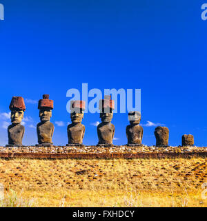 Moais at Ahu Tahai. Easter Island. - Stock Photo