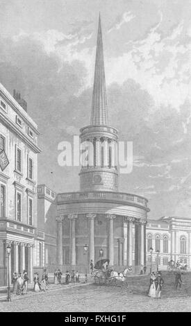 LONDON: All-Souls Church, Langham Place, antique print 1827 - Stock Photo