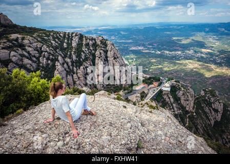 Aerial view in Montserrat mountains near Benedictine abbey Santa Maria de Montserrat, Monistrol de Montserrat, Catalonia, - Stock Photo