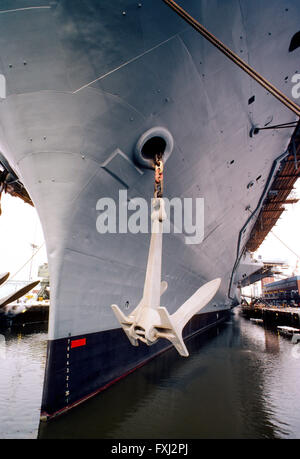 Bow & anchor of large ship; The Naval Yard; Philadelphia; PA; USA - Stock Photo