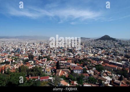 A wide angle view of Athens as seen from the top of the Athenian Acropolis in Athens, Greece. - Stock Photo