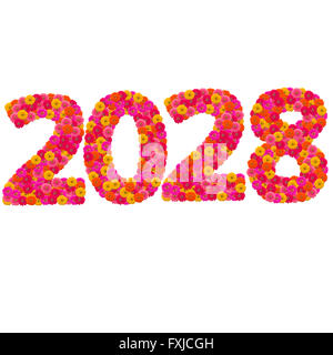 Numbers 2028 made from Zinnias flowers - Stock Photo