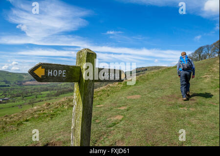 Wooden sign post showing directions to Hope and Lose Hill, part of the footpath to Mam Tor, in the Peak District, - Stock Photo