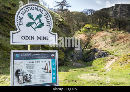 Disused lead mine, 'Odin Mine' at the foot of Man Tor in the Peak District, Derbyshire, England. - Stock Photo
