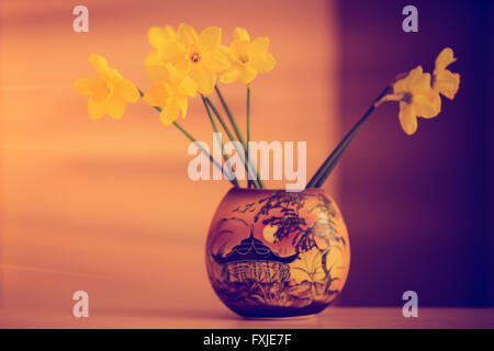 daffodils in a vase - Stock Photo