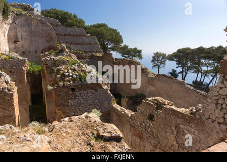 A view of the cisterns and thermal area at the Villa Jovis, Capris - Stock Photo