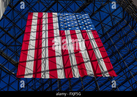 A Giant flag of the United States Of America  Hanging in The John F, Kennedy Presidential Library And Museum , Columbia - Stock Photo