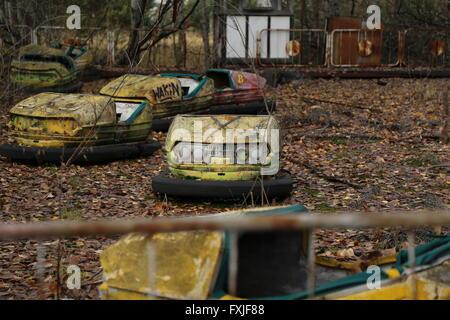 The abandoned city of Pripyat, Chernobyl Exclusion Zone, Ukraine - Stock Photo