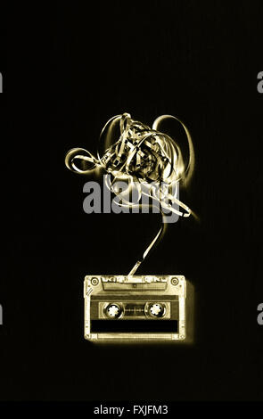 Audio cassette tape with subtracted out tape. solrisation effect - Stock Photo