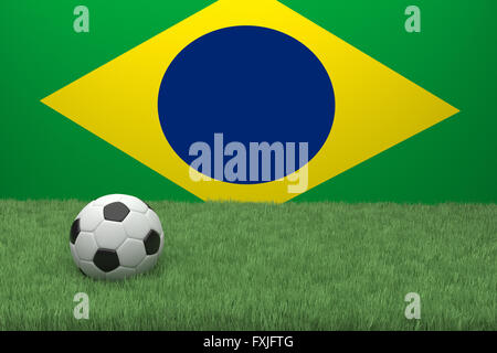 Realistic 3d rendering of a football in front a flag. - Stock Photo