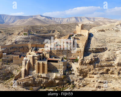 St. George Greek Orthodox Monastery, a monastery located in the Judean Desert Wadi Qelt, in the eastern West Bank - Stock Photo