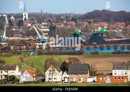 Coal loading in port city of Dortmund, Hardenberg harbor, the Dortmund-Ems Canal, Germany, - Stock Photo