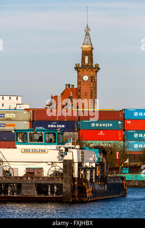 Inland port in Dortmund, Germany, container terminal, historical port Authority building, - Stock Photo