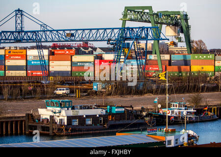 Inland port in Dortmund, Germany, container terminal, - Stock Photo
