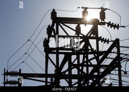 Hydro One transmission station in Napanee, Ont., on April 16, 2016. - Stock Photo