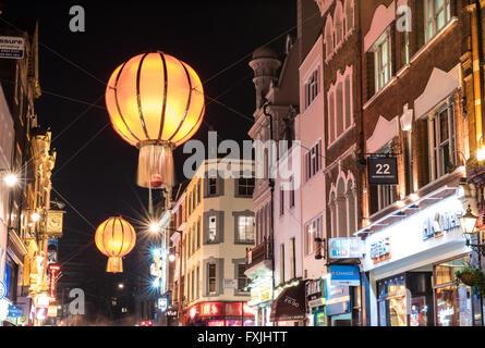Wardour Street, Chinatown, London during Chinese New Year - Stock Photo