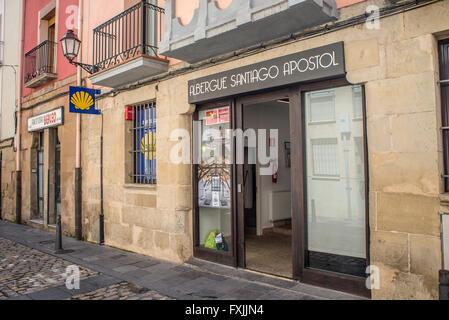 Pilgrims hostels of the Way of St. James. Albergue Santiago Apostol in downtown of Logroño, La Rioja. Spain. - Stock Photo